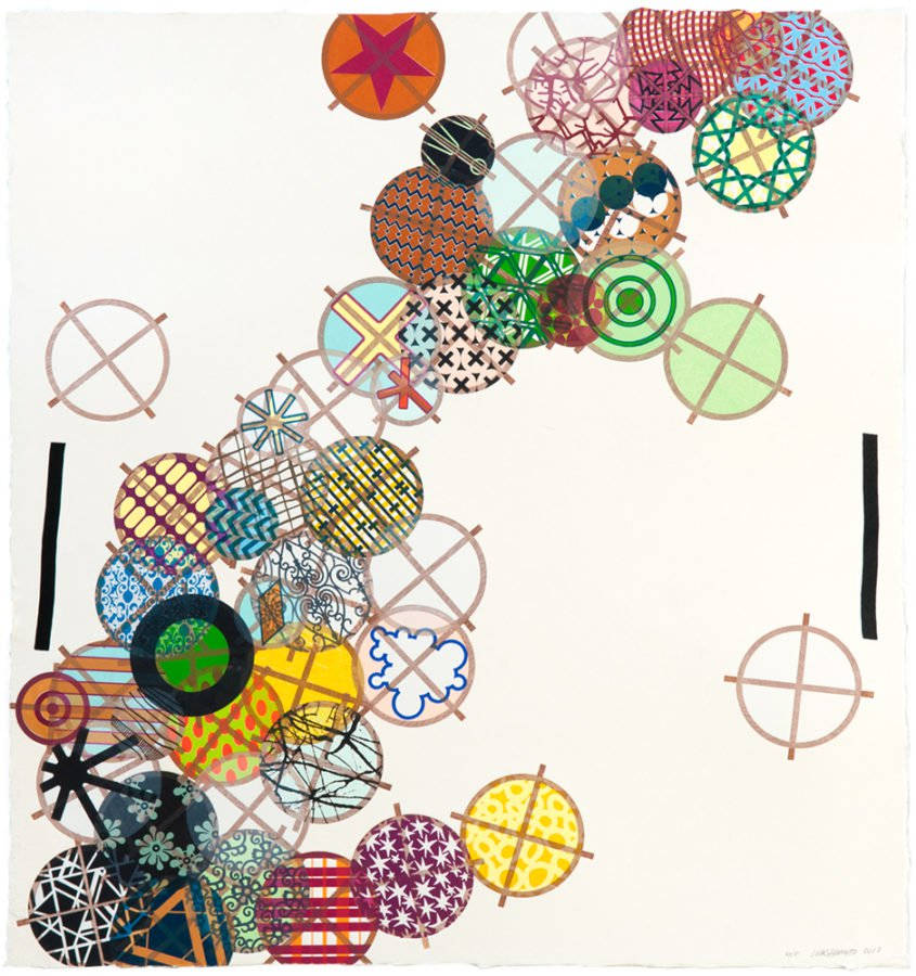 Jacob Hashimoto The Calamitous, yet Normal Circumstances of the Universe 2018 Woodblock, Hiromi Handmade paper