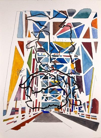 Yasemin Kackar Demirel Unwavering Longing 2018 Watercolor, block print, and graphite on paper