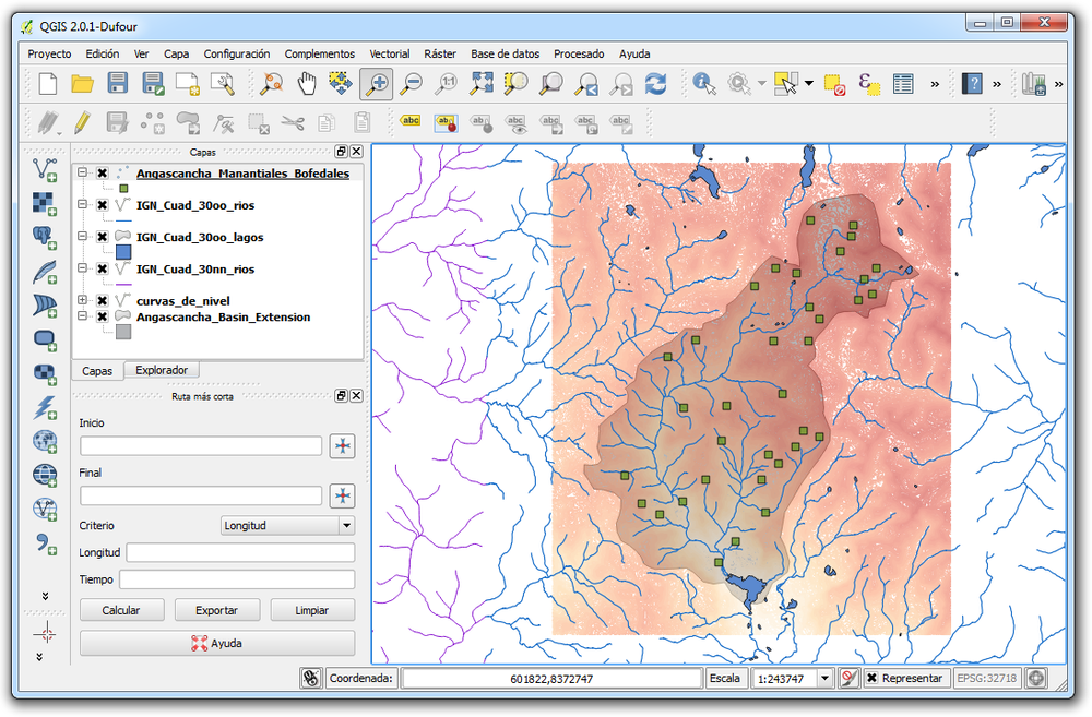 Vectorial layer of lines, polygons and points with QGIS