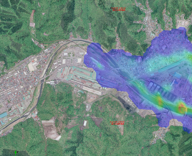 Visualization of flood related to a river modelled in iRIC