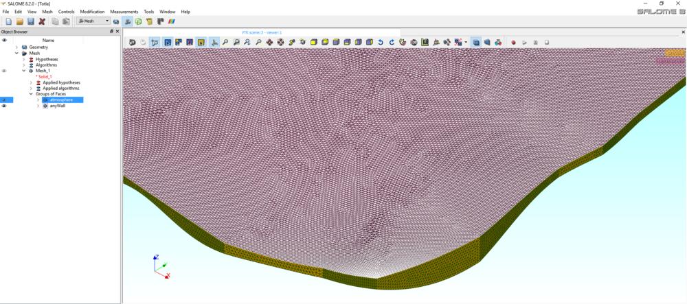 Closeup of model mesh on Salome Platform