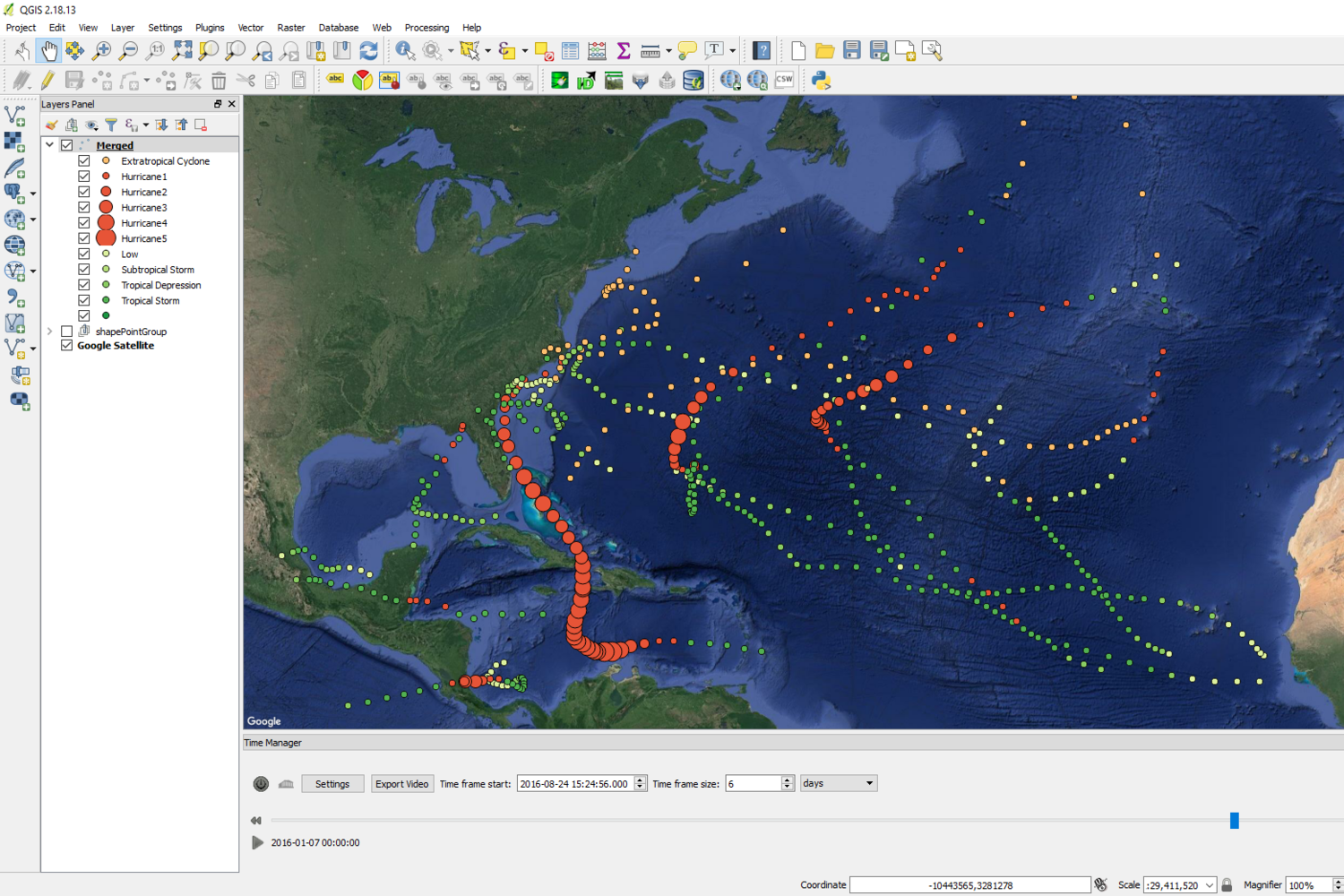Spatio-Temporal Hurricane Tracking in the Gulf of Mexico with QGIS