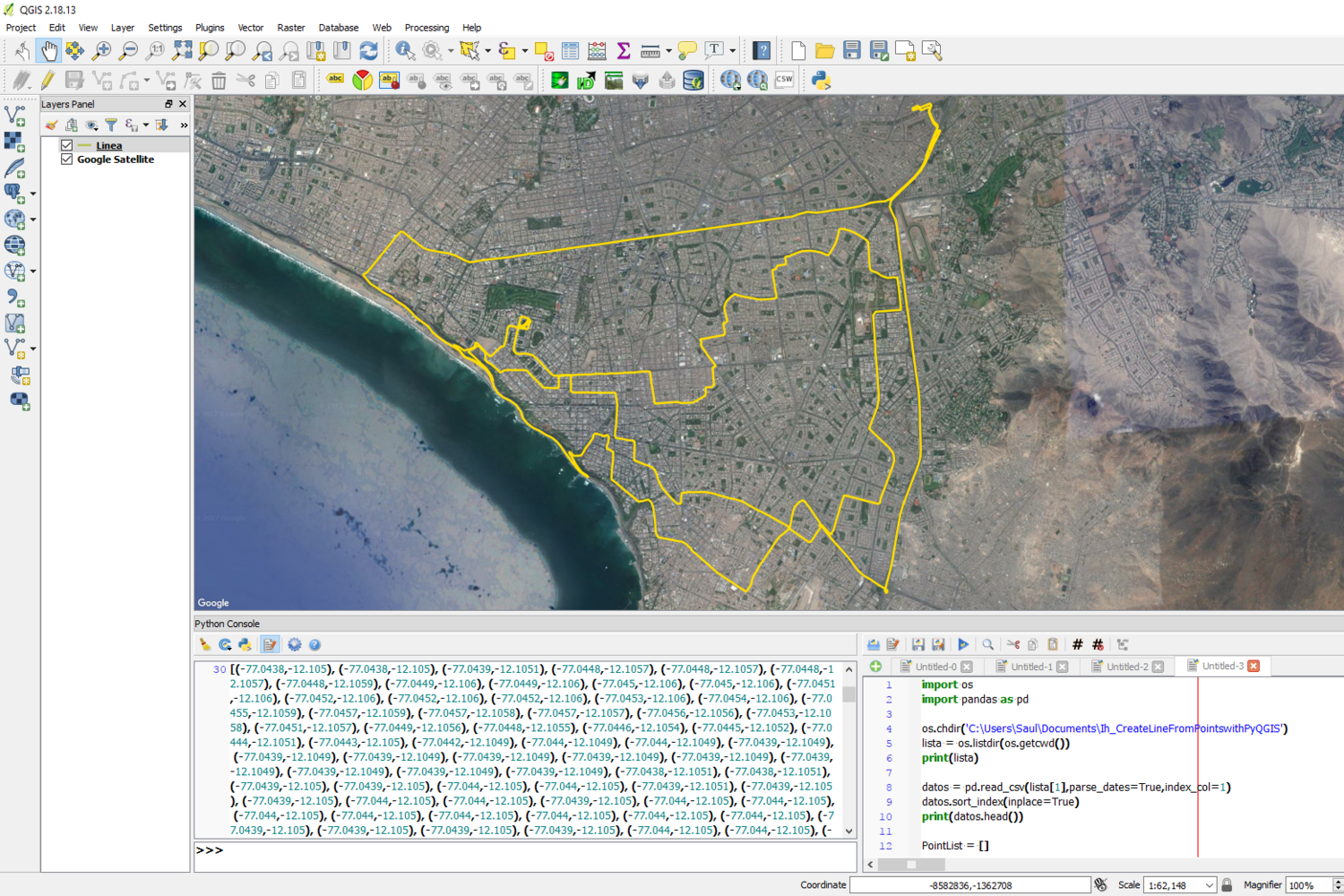 How To Create Line From Points in QGIS with PyQGIS and