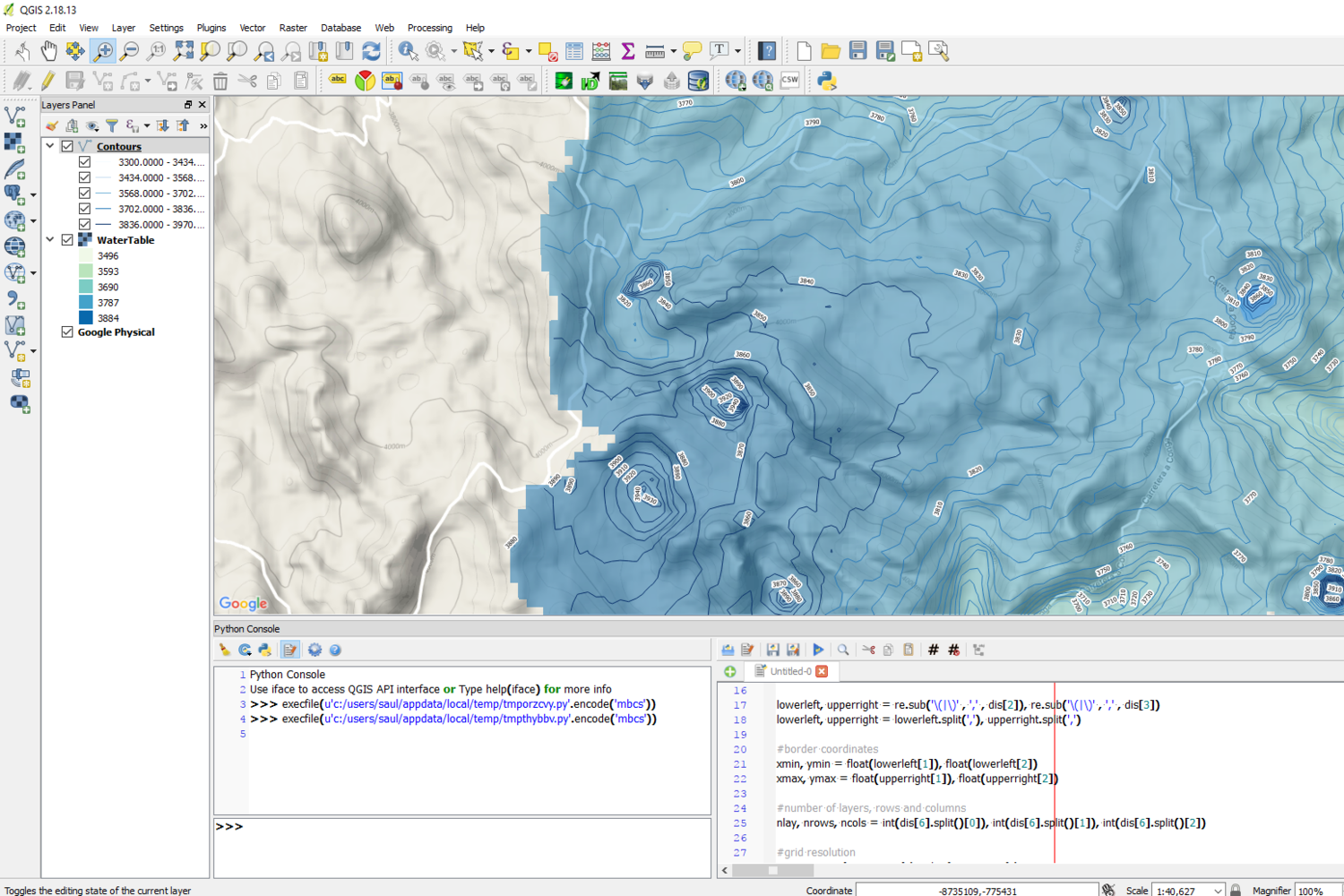 How to import a Water Table from MODFLOW in QGIS with Python