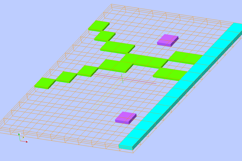 Isometric View of Boundary Conditions: RIV (green), WEL (purple), and GHB (light blue)