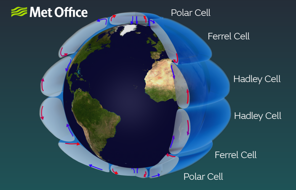 Global circulation cells (source: metoffice.gov.uk)