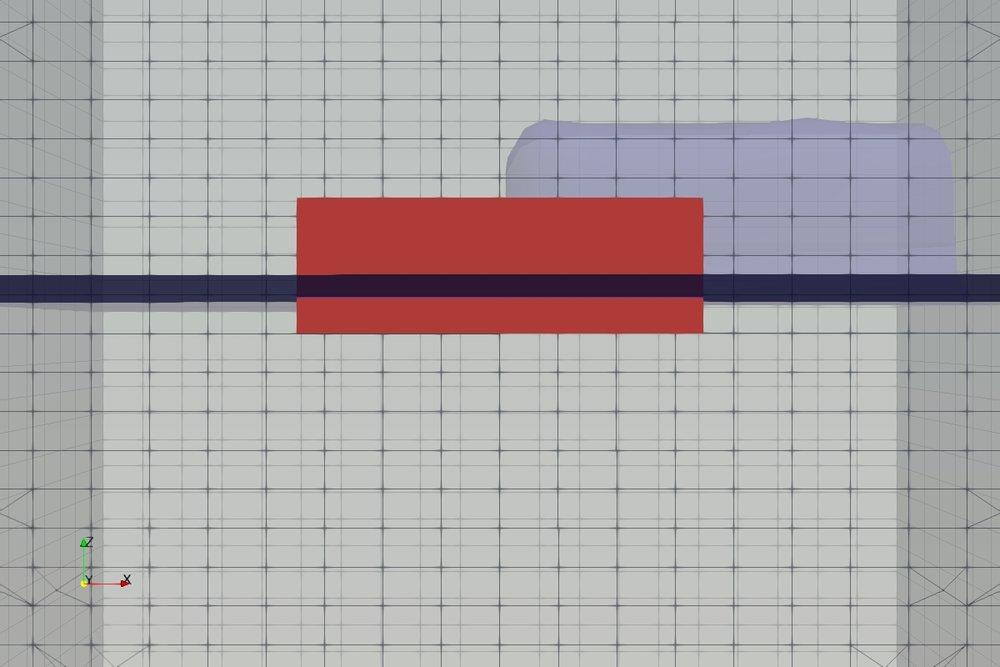 Model mesh at simulation start