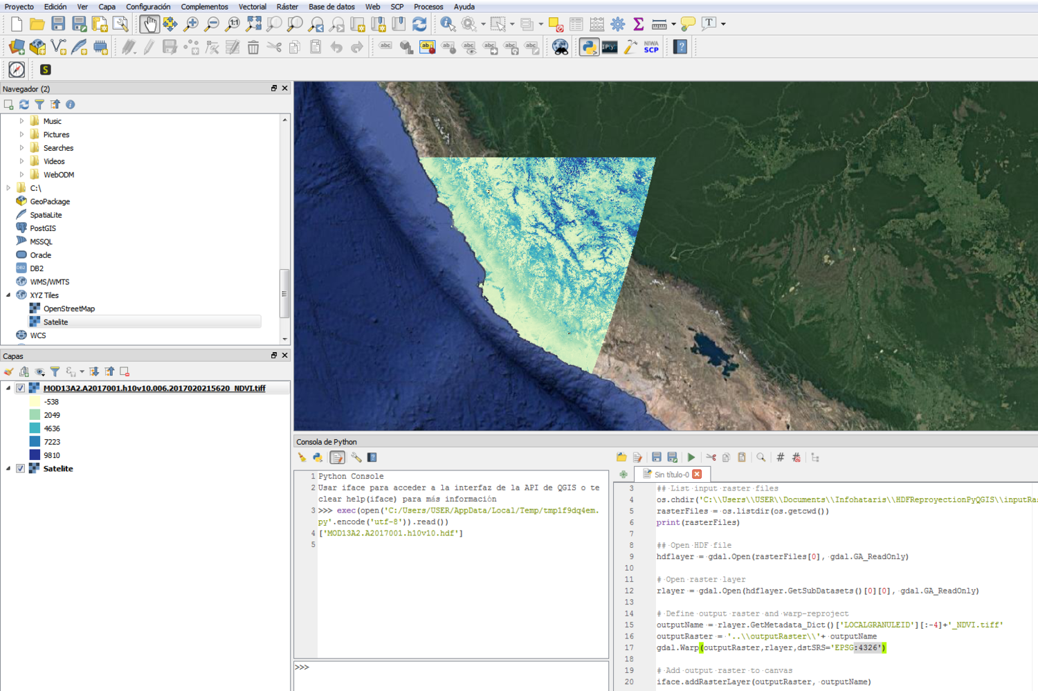 How to open HDF files on Sinusoidal Coordinate System in QGIS3 with
