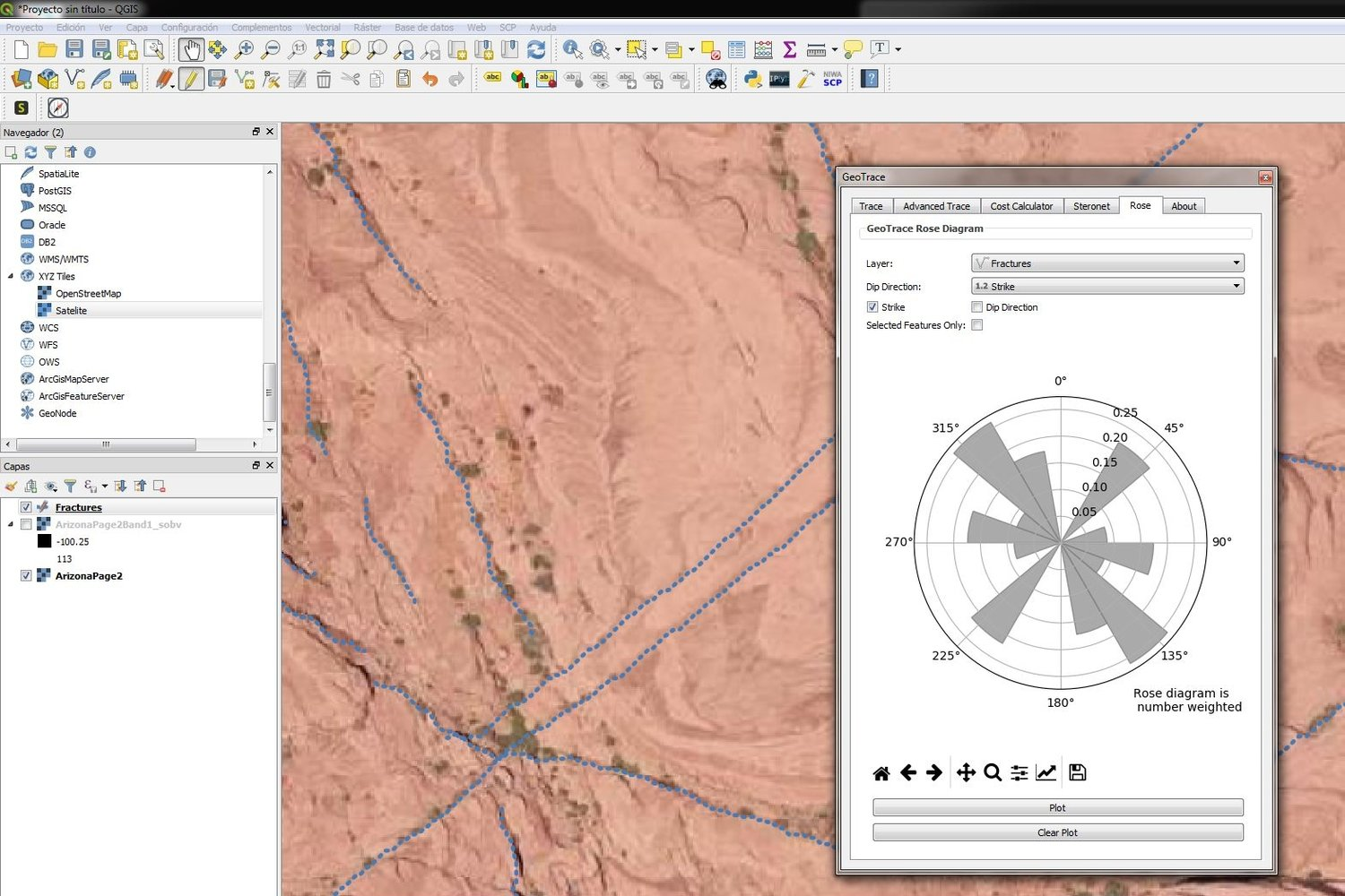 Extracting geological faults and orientation representation in QGIS