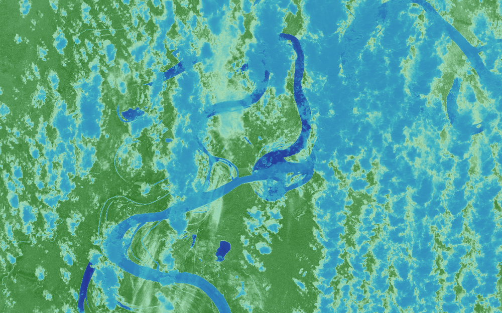 NDVI obtained from the Sentinel 2 bands.
