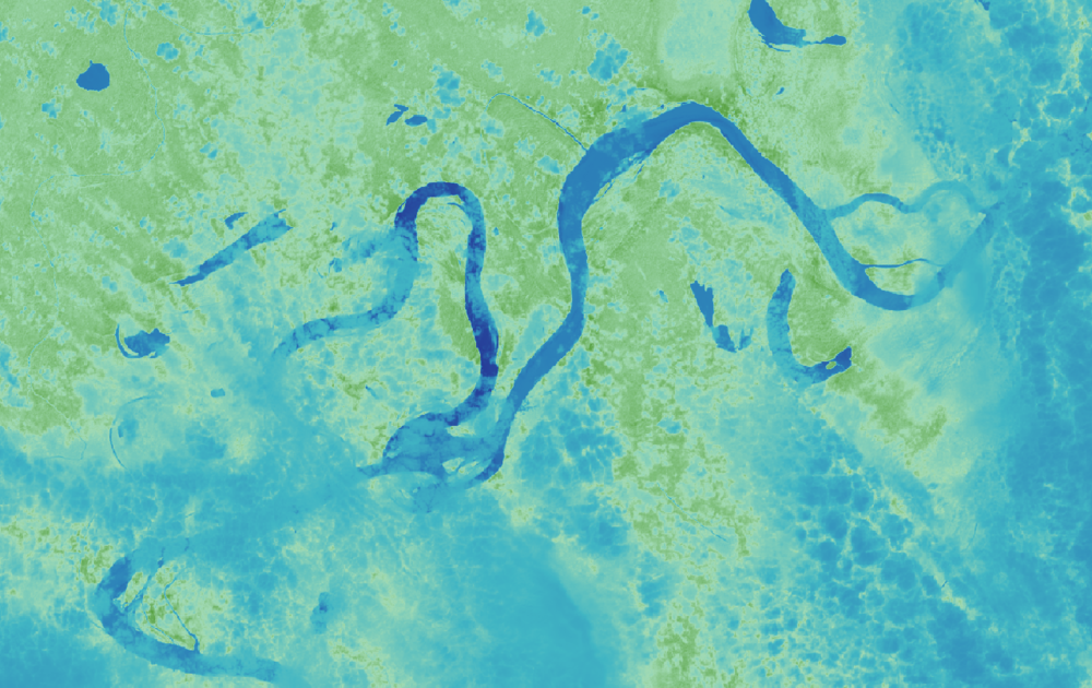 NDVI obtained from the Landsat 8 bands