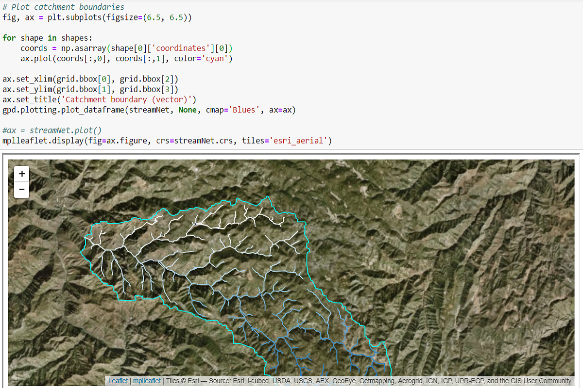 Watershed and Stream Network Delimitation with Python and Pysheds