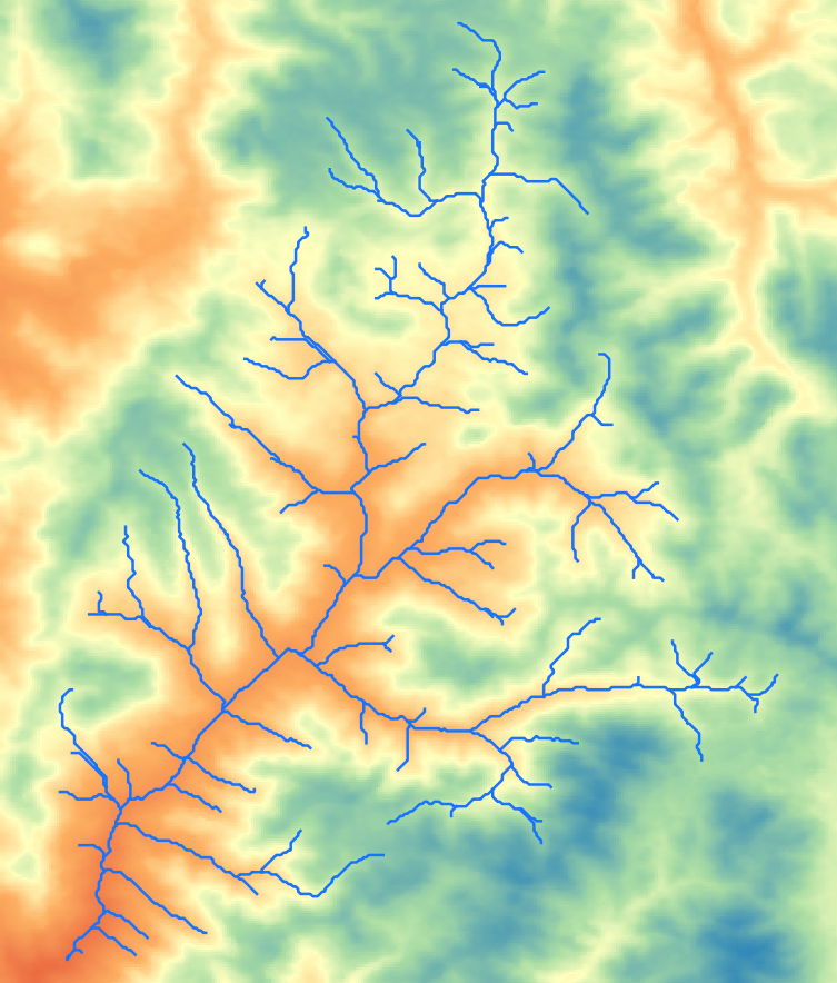 Elevation representation with stream network