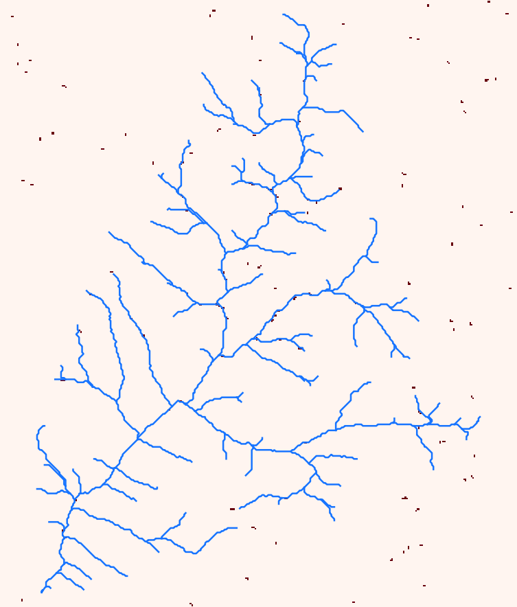 Depressions on the DEM (red pixels)