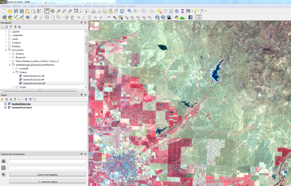 Representation of a processed false color image with Rasterio in QGIS 3