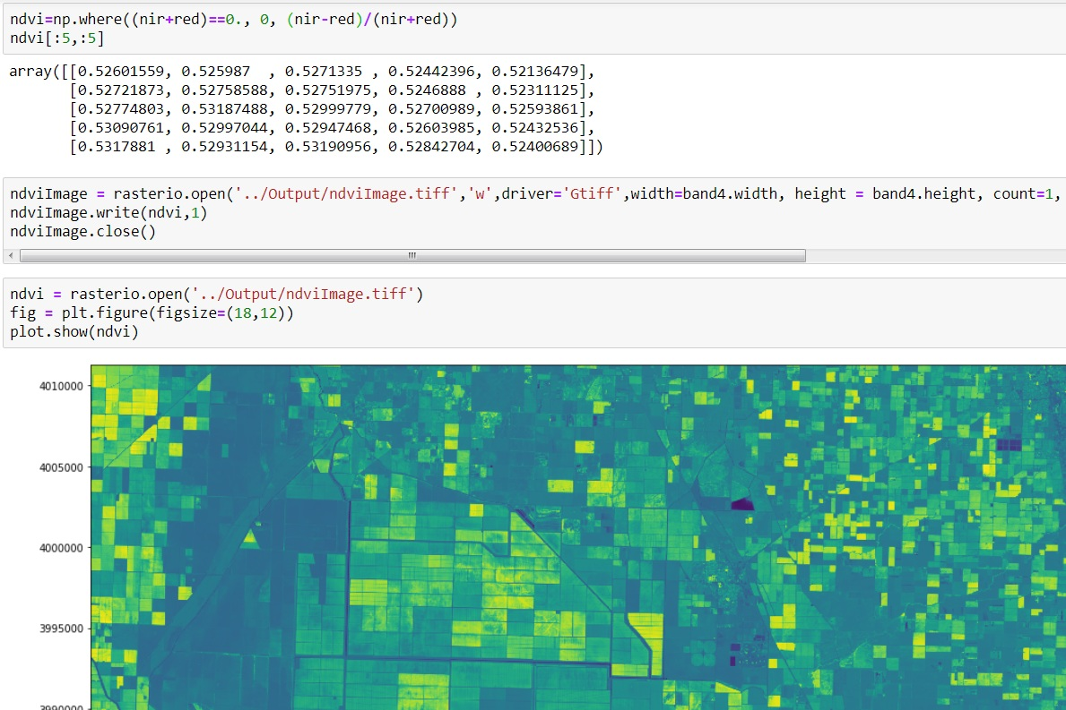 NDVI calculation from Landsat8 images with Python 3 and