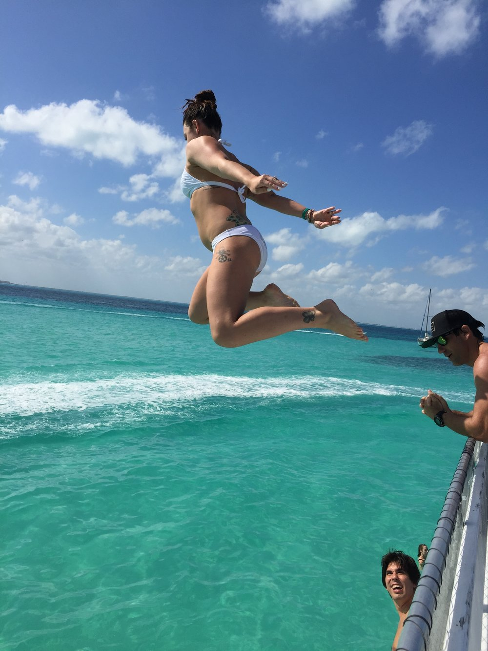 Jumping off a boat in Cancun, February 2017