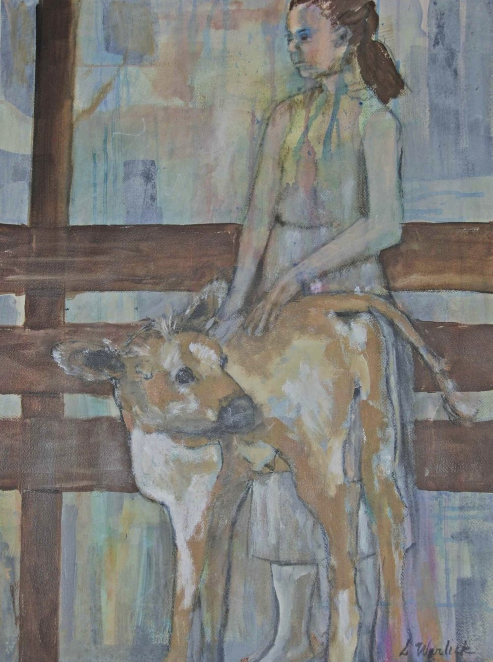 """Young Girl with Calf"""