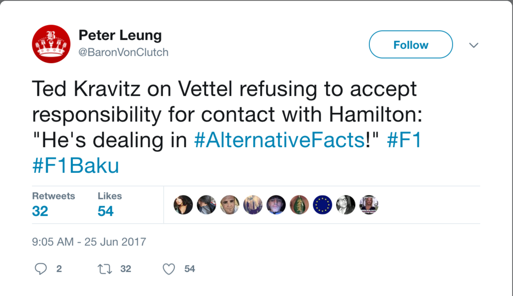 More Twitter commentary. Truly, the remarks were hilarious. It's sad that Vettel's behavior is leaving him open to such chiding.