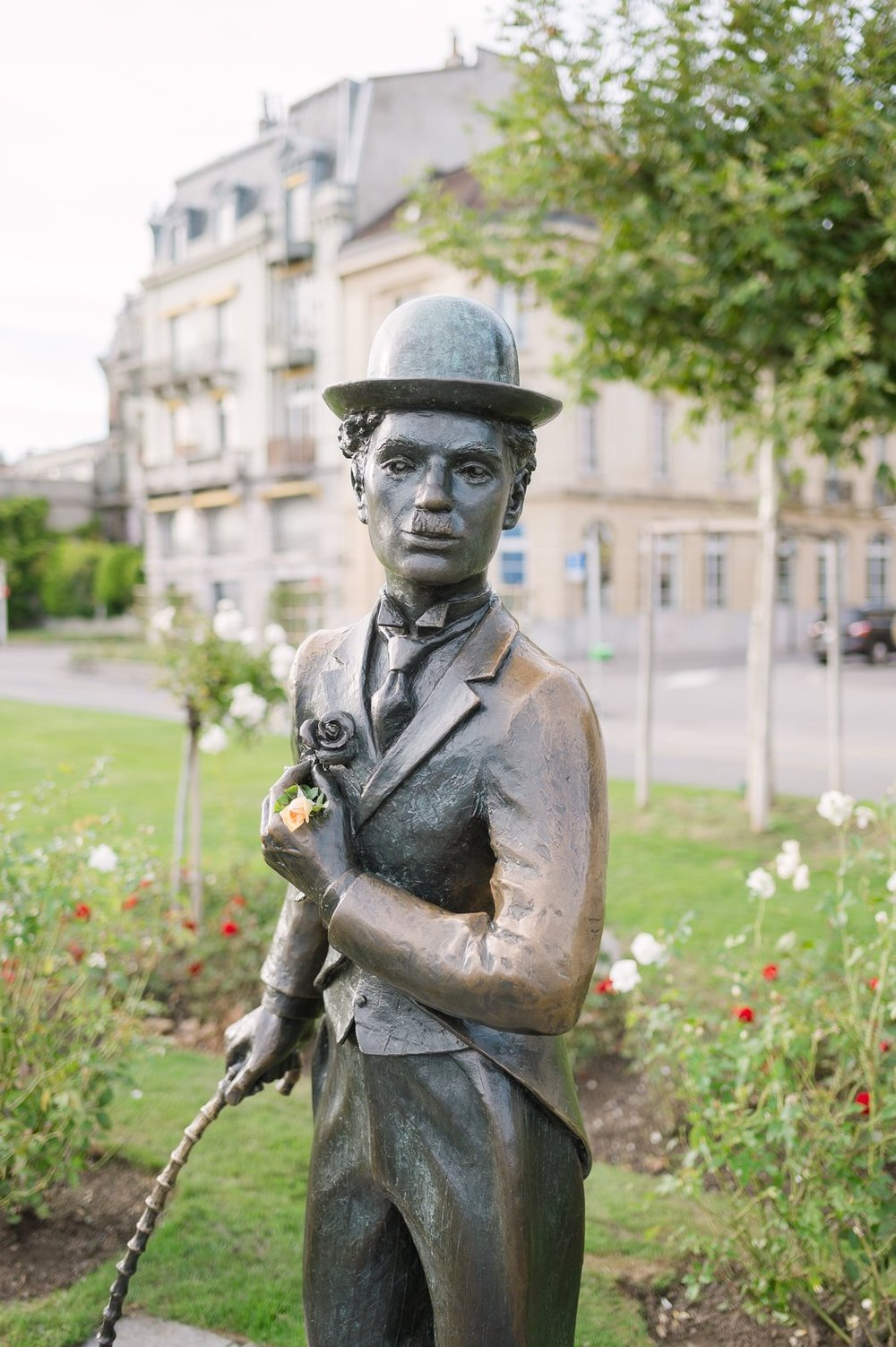 A statue of Charlie Chaplin near the lakeside promenade at his home in Switzerland.