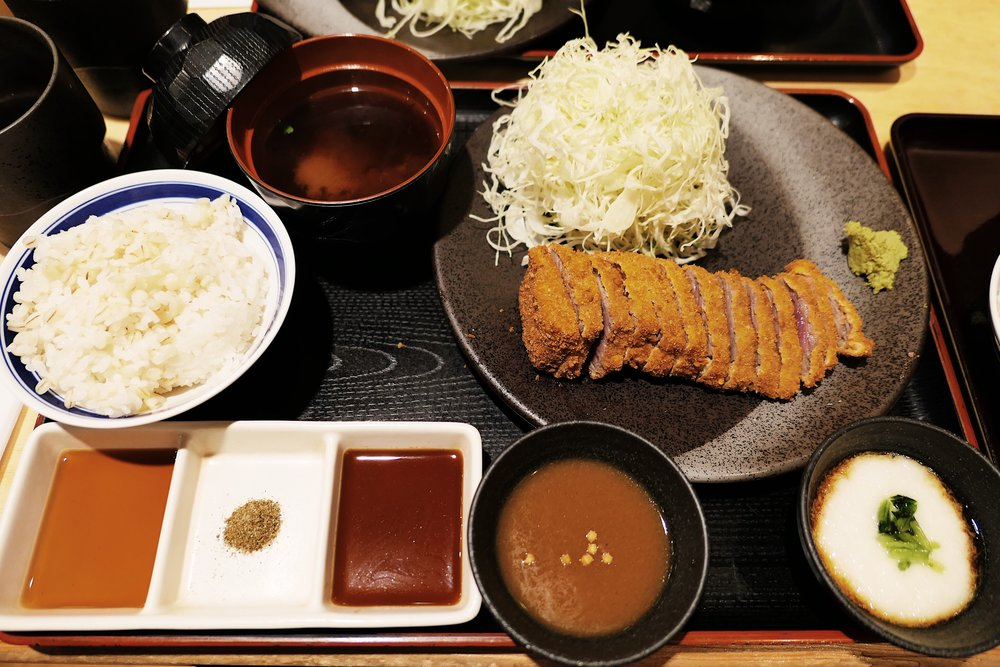 This is the set. It comes with a steak of katsugyu, a mountain of fresh cabbage, a bowl of miso soup, a bowl of rice, curry for dipping, choice of yam or onsen egg for dipping, and some condiments to enhance the taste if need be.