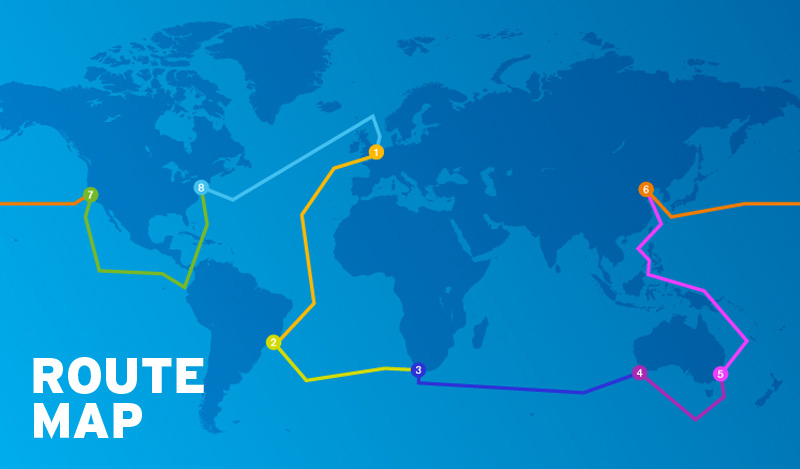 Clipper Round the World Route Map