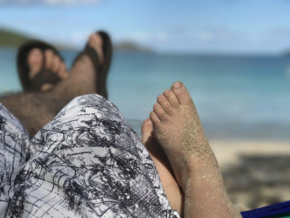 Daddy and Ella, hammock days with sandy feet.