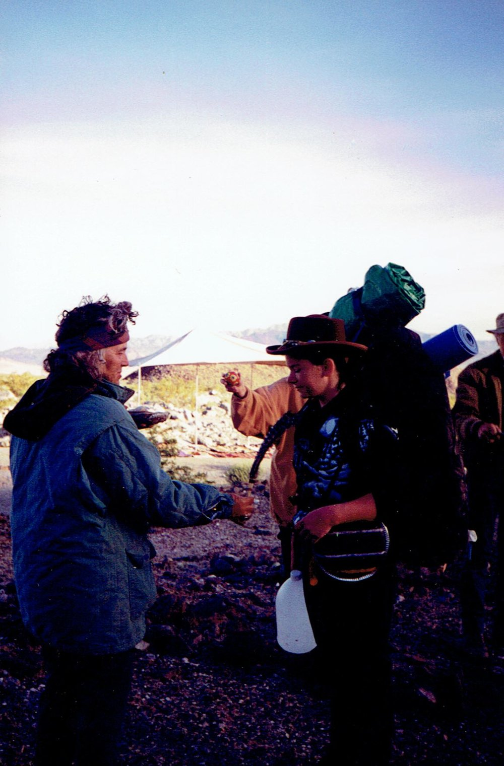 Getting smudged with sage prior to trekking across the Valley two hours to my camping spot where I spent 3 days alone in the wilderness. Circa 1995.