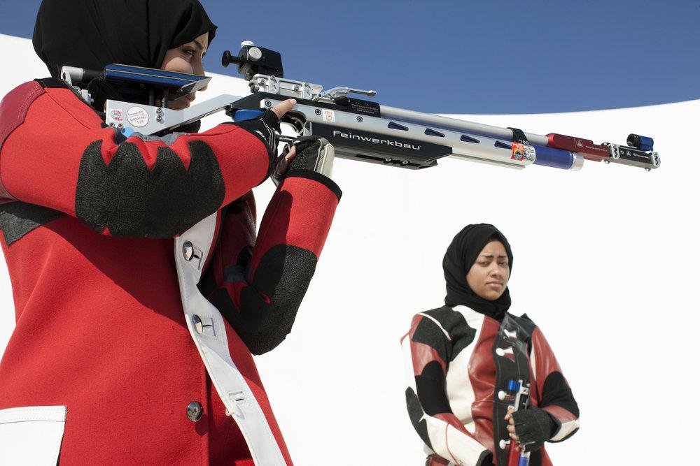 Bahiya Al-Hamad and Shaikha Almohammed, Qatar Rifle Shooting, QMA HeyYa Arab Women in Sport