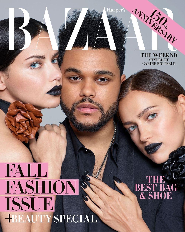 2017 Harper's Bazaar September cover, The Weeknd, Adriana Lima, Irina Shayk