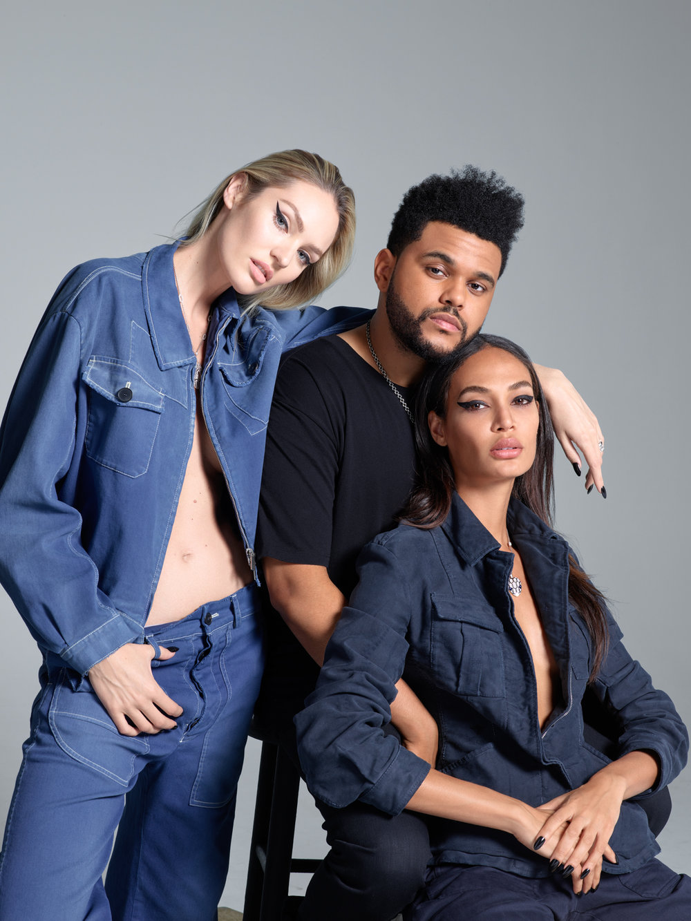 Candice Swanepoel, The Weeknd, and Joan Smalls, 2017 Harper's Bazaar September Issue