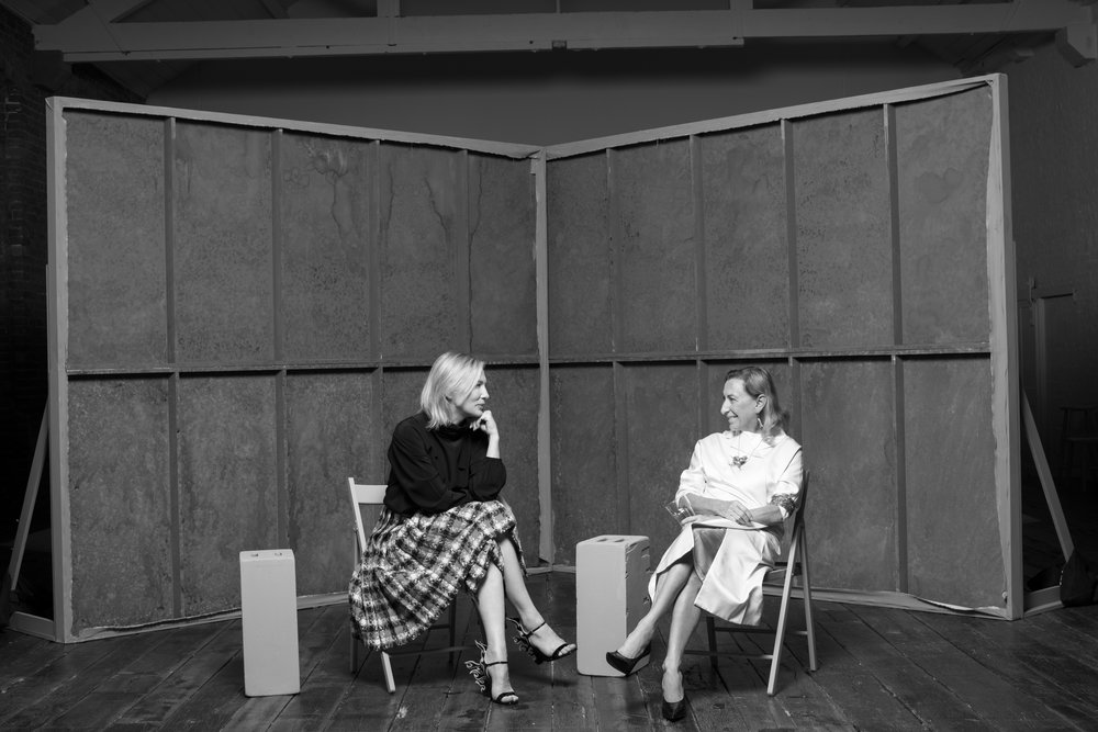 Cate Blanchett and Miuccia Prada, London, 2018