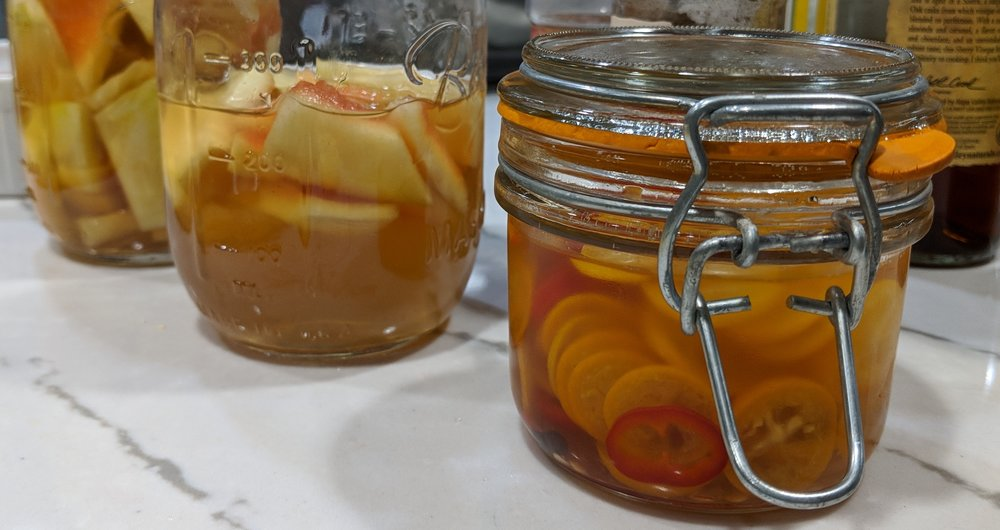 Cumquat and watermelon rind pickles