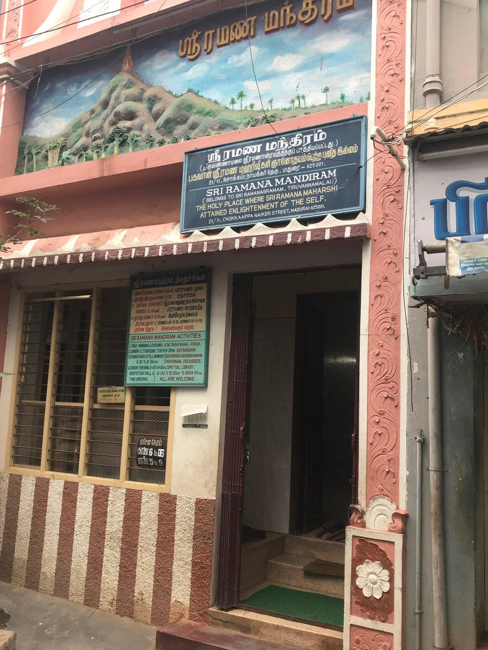 Sri Ramana Mandiram's Enlightenment place where I meditated for a bit