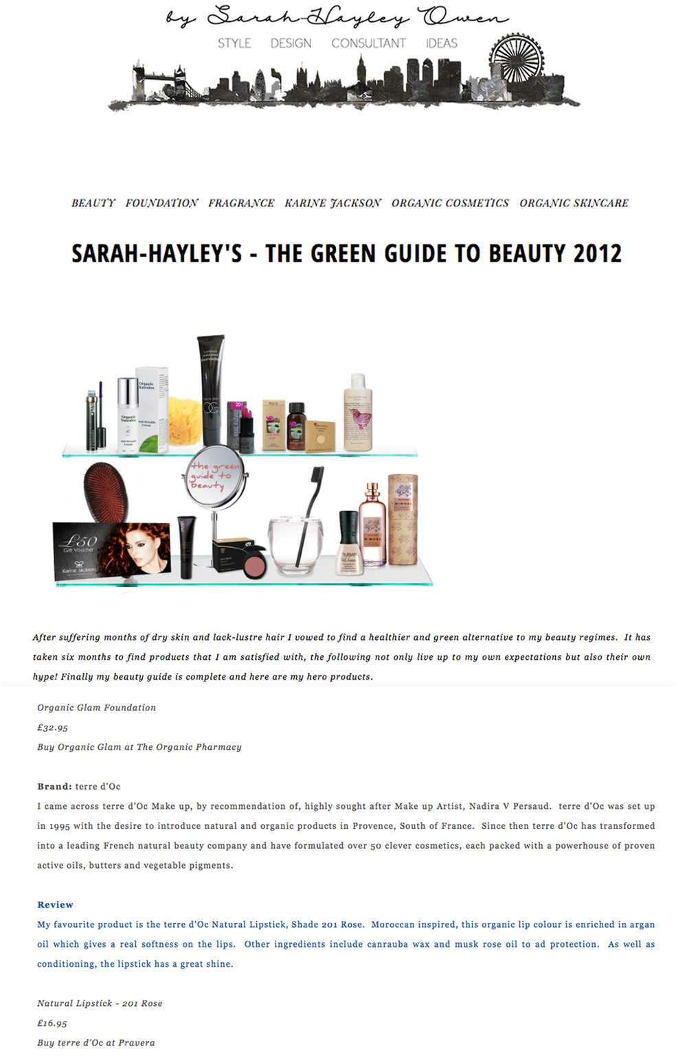 Sarah Hayley, Green Guide to Beauty
