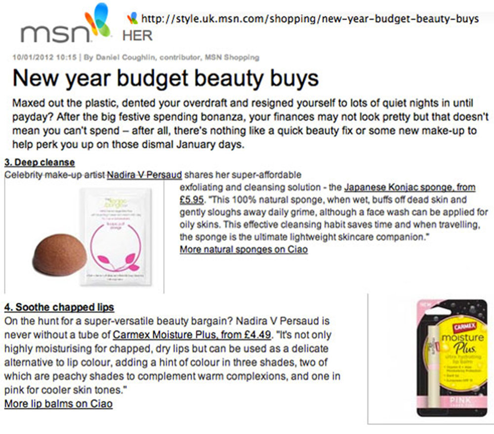 MSN Her Website New Year Budget Beauty Buys