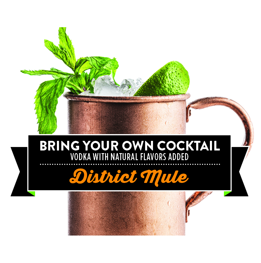 District Mule - An elevated take on the Moscow Mule.  This favorite contains a house made spicy ginger simple syrup, fresh squeezed lime juice, a hint of mint, and the highest quality of vodka made right here in the District.  We bet...in fact, we KNOW you can't have just one.