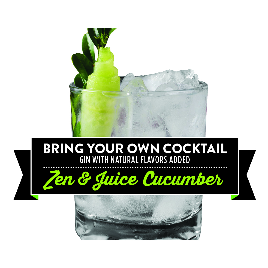 Zen & Juice Cucumber - This easy sipper will have you feeling like you just left the spa. It contains a locally distilled gin, crisp cucumbers, fresh squeezed lime juice, and a drizzle of simply syrup. Sit back, relax and sip. Available in select stores.