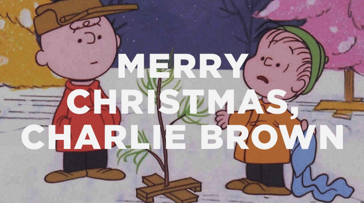 Charlie Brown and Linus talking around the scrawny Christmas tree