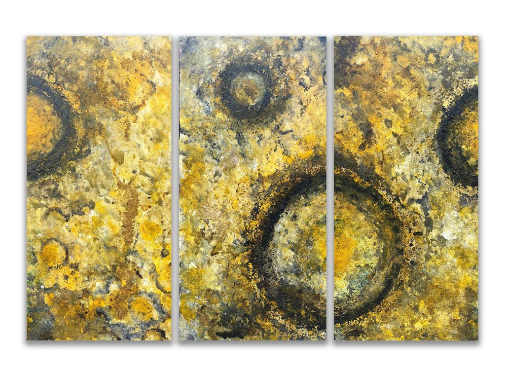 Worlds Apart   3x 12x24 Mixed Media (acrylic, sand)