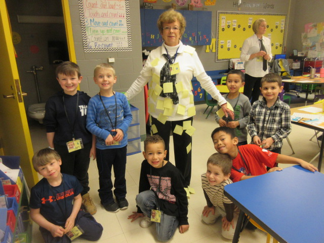100th Day of School 045 ok Jo B with post it notes.JPG