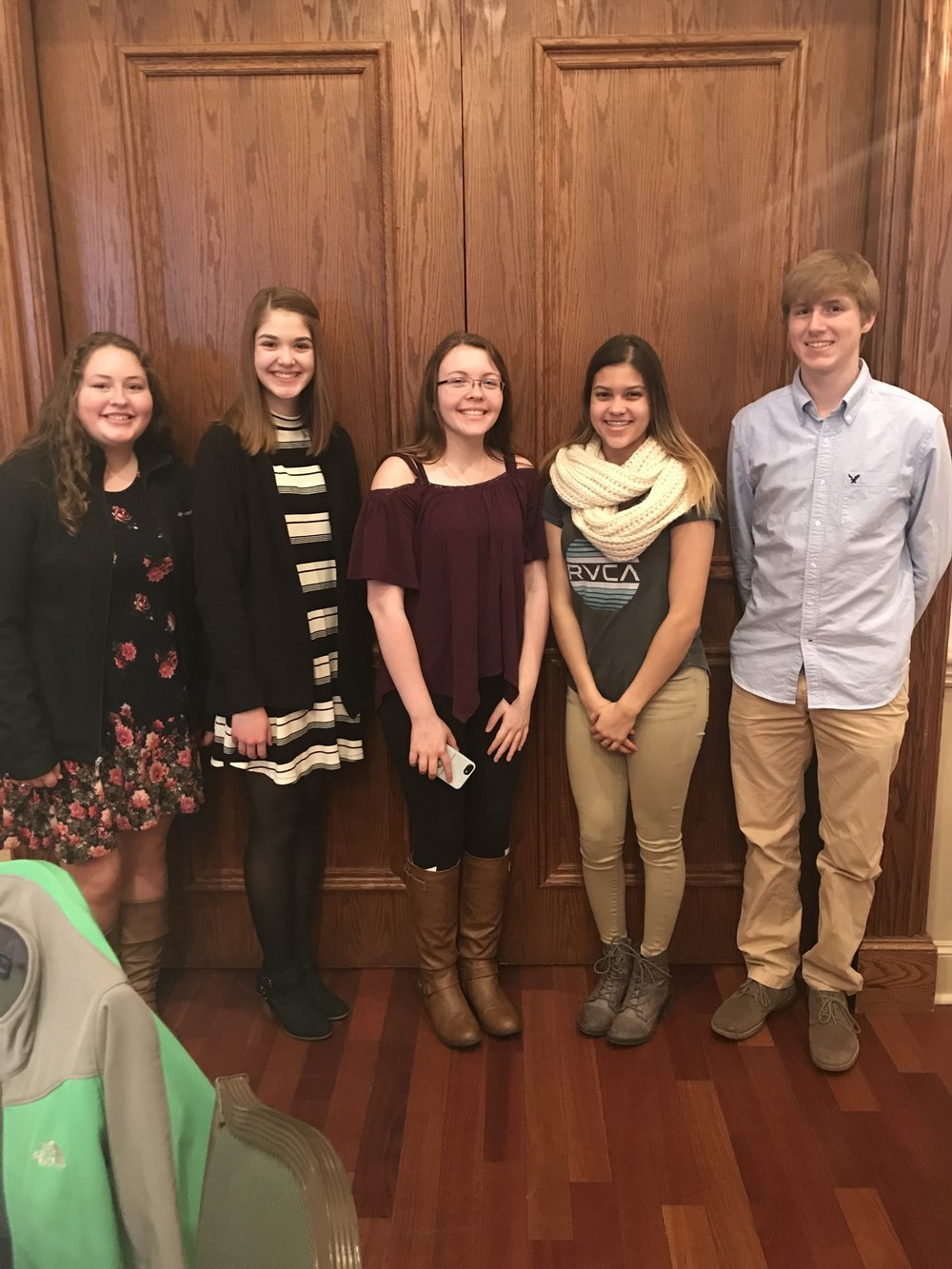 Faith Burge, Erin Anderson, Danielle Simpson, Kiara Colunga, and Trey Houmes- our delegates at the KDASC District Convention.