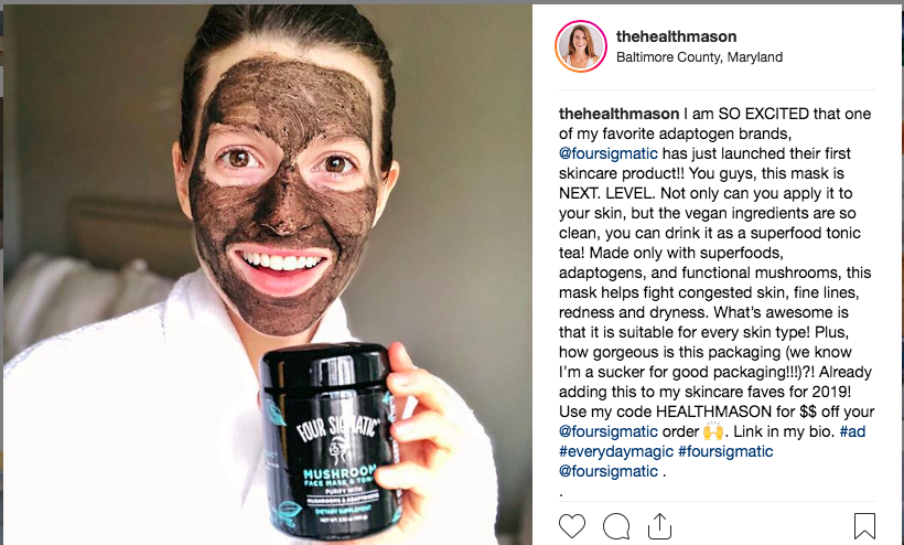 Sponsored Instagram post with Four Sigmatic