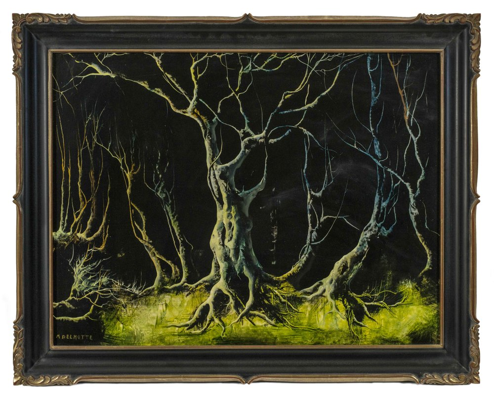 - Despite claims of his personal even innate connection with nature, Delmotte nevertheless applied his knowledge of historical art and aesthetic movements to his landscape production, either as a standalone subject or as elaborate backgrounds to his historical and allegorical compositions. His forest landscapes, with their tangle of dendritic branches and detailed arboreal textures, recall the work of the Renaissance landscapist Albrecht Altdorfer, while his marinescapes evoke both seventeenth-century Dutch marine compositions in their celebration of the power of the sea as well as the verticality and flattened space of Japanese landscape paintings on hanging scrolls. De Chirico's work was clearly influential in Delmotte's creation of otherworldly dreamscapes as was Max Ernst's use of the dendrite or decalcomanie technique to create coral-like or fossilized geological forms in the surrounding environs.