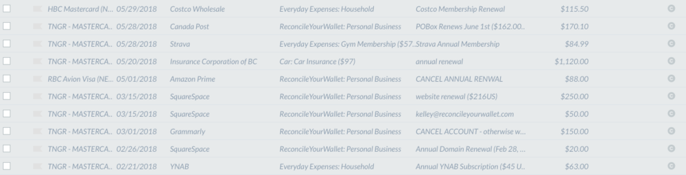 Recurring Subscriptions in YNAB