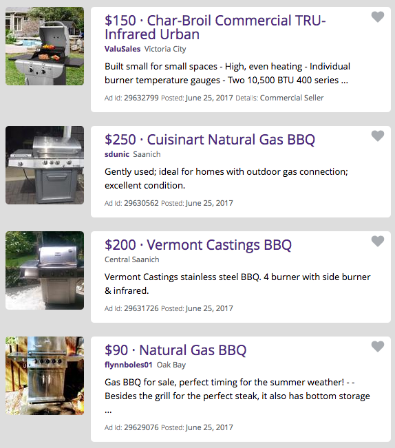 UsedVictoria.com's BBQ Search Results