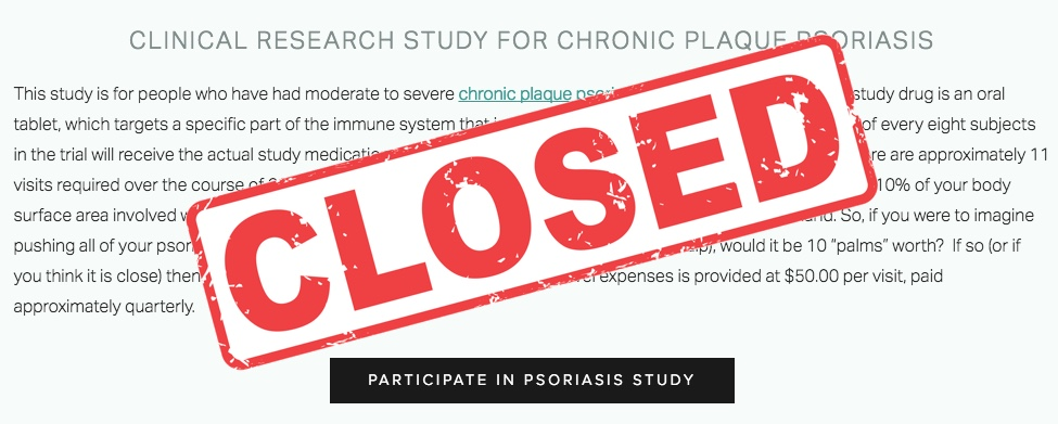 Psoriasis Study is Closed