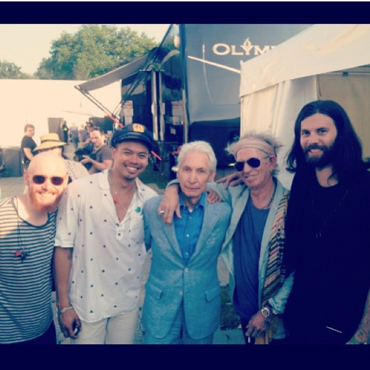 Jonny takes an unadvised shot of the Temper Trap with Keith Richards and Charlie Watts of the Rolling Stones