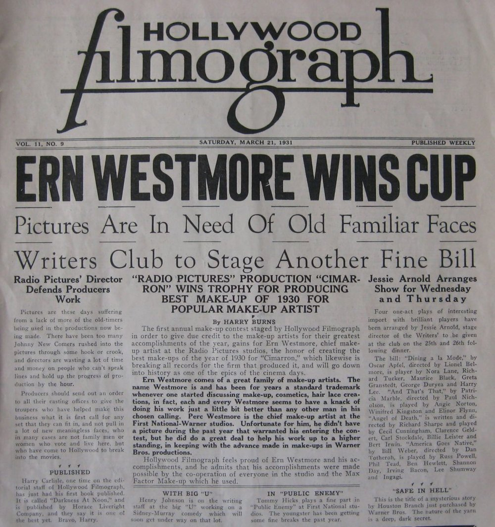 Headlines in 1931 for the very first award  ever  presented to a make-up artist for his work.