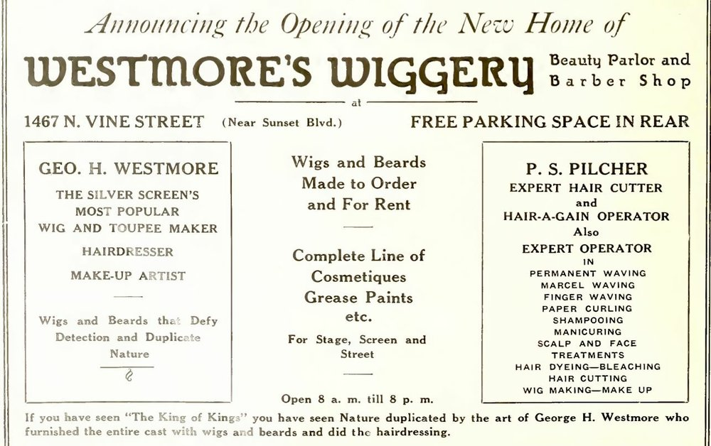 Following the success of the movie, The King of Kings, George moved his wig making shop to be closer to the studios.  He called it the Westmore Wiggery, but the public didn't come. His sons had become the new sensation and were each heading up the makeup departments at the major studios and in great demand.